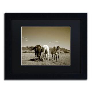 Preston 'Three Horses' Black Matte, Black Framed Wall Art
