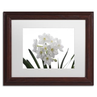 Kurt Shaffer 'Paper White Bouquet' White Matte, Black Framed Wall Art