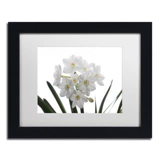 Kurt Shaffer 'Paper White Bouquet' White Matte, Black Framed Wall Art
