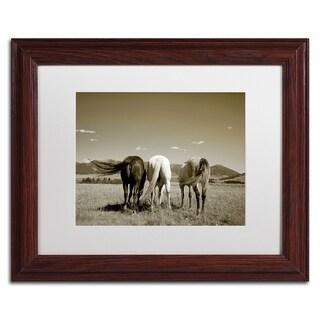 Preston 'Three Horses' White Matte, Wood Framed Wall Art