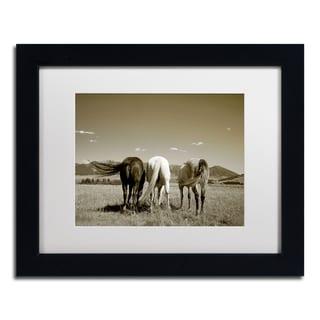 Preston 'Three Horses' White Matte, Black Framed Wall Art