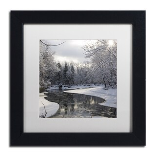 Kurt Shaffer 'Fresh Snowfall on the River' White Matte, Black Framed Wall Art