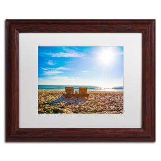 Preston 'Florida Beach Chair' White Matte, Wood Framed Wall Art