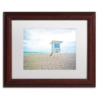 Preston 'Florida Beach Chair 2' White Matte, Wood Framed Wall Art