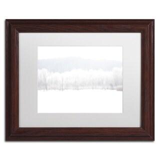 Kurt Shaffer 'Abstract Winter Beaver Marsh' White Matte, Black Framed Wall Art