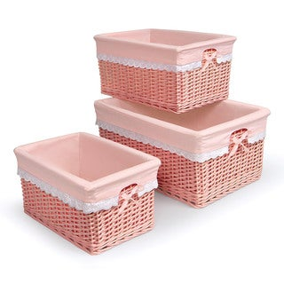Badger Basket Coral Pink Nursery Baskets (Set of 3)