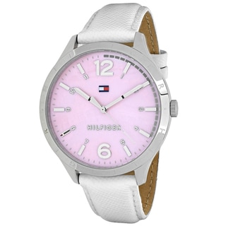Tommy Hilfiger Women's 1781547 Casual Sport Round White Leather Strap Watch