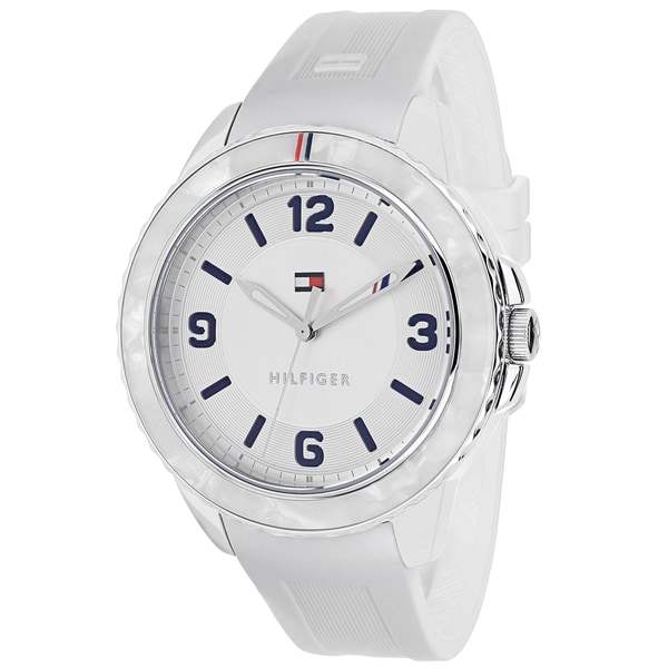 e84f4dae Shop Tommy Hilfiger Women's 1781541 Everyday Sport Round White Silicone  Strap Watch - Free Shipping Today - Overstock - 10509051
