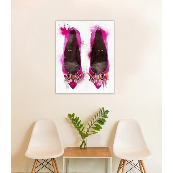 Oliver Gal 'Party Time Heels' Fashion Wall Art Print on Premium Canvas - magenta