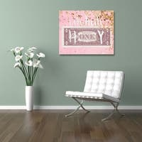 Oliver Gal  'Uh Huh Honey' Typography Wall Art Print on Premium Canvas - Pink