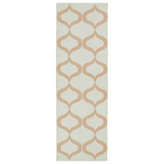 Indoor/Outdoor Laguna Ivory and Pink Geo Flat-Weave Rug (2'0 x 6'0)
