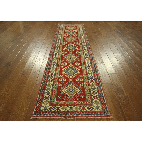 red blue and ivory runner super kazak hand knotted wool area rug 3 39 x 10 39 free shipping. Black Bedroom Furniture Sets. Home Design Ideas