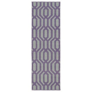 Indoor/Outdoor Laguna Grey and Lilac Geo Flat-Weave Rug (2' x 6')