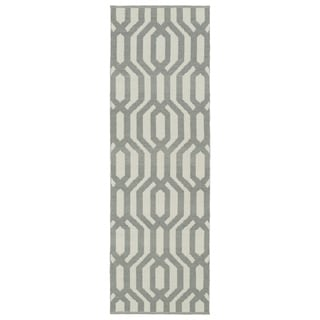 Indoor/Outdoor Laguna Ivory and Grey Geo Flat-Weave Rug (2'0 x 6'0)