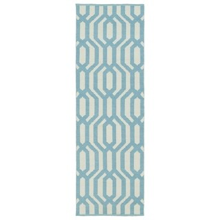 Indoor/Outdoor Laguna Ivory and Spa Blue Geo Flat-Weave Rug (2' x 6')