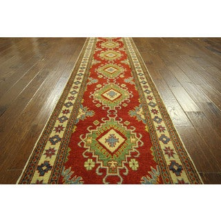 Unique Red and Ivory Super Kazak Runner Hand-knotted Wool Area Rug (3' x 11')