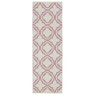 Indoor/Outdoor Laguna Ivory and Pink Geo Flat-Weave Rug - 2' x 6'