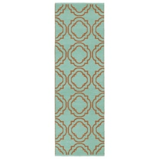 Indoor/Outdoor Laguna Turquoise and Orange Geo Flat-Weave Rug (2'0 x 6'0) - 2' x 6'