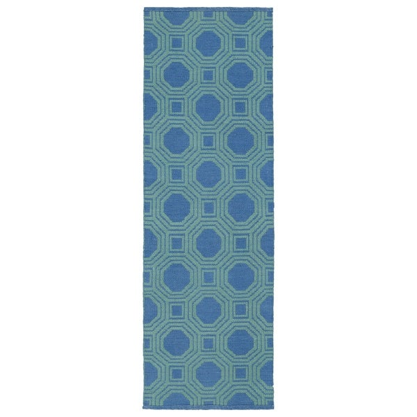 Indoor/Outdoor Laguna Blue and Turquoise Geo Flat-Weave Rug - 2' x 6'