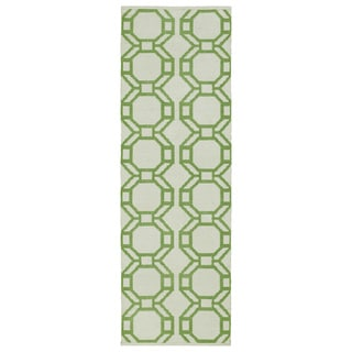 Indoor/Outdoor Laguna Ivory and Lime Geo Flat-Weave Rug (2'0 x 6'0)