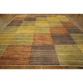 Unique Multi-colored Brocade Weave Gabbeh Hand-knotted Wool Area Rug (10' x 11')