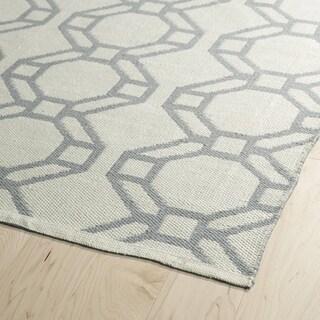 Indoor/Outdoor Laguna Ivory and Grey Geo Flat-Weave Rug - 2' x 6'