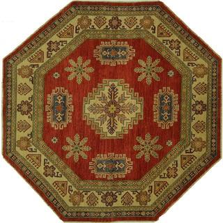 Amulet Motif Geo-floral Red Octagon Super Kazak Hand-knotted Wool Rug (7', 7' x 7')