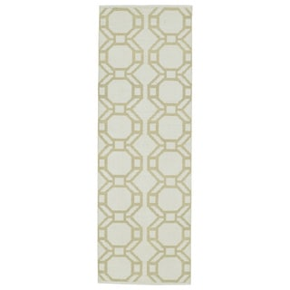 Indoor/Outdoor Laguna Ivory and Khaki Geo Flat-Weave Rug (2'0 x 6'0)