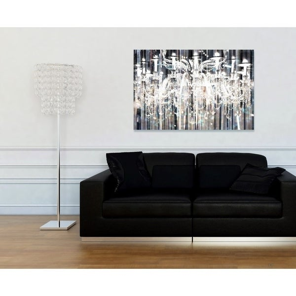 Oliver Gal 'Diamond Shower' Fashion and Glam Chandeliers Gallery Wrapped Canvas Art - Grey