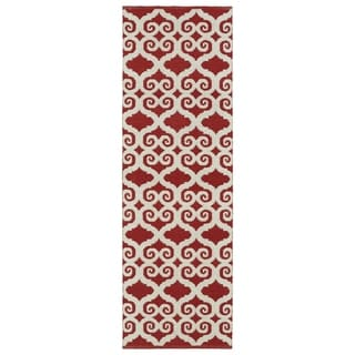 Indoor/Outdoor Laguna Red and Ivory Scroll Flat-Weave Rug (2'0 x 6'0) - 2' x 6'