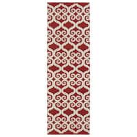 Indoor/Outdoor Laguna Red and Ivory Scroll Flat-Weave Rug - 2' x 6'