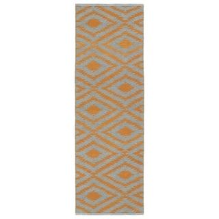 Indoor/Outdoor Laguna Grey and Orange Ikat Flat-Weave Rug (2' x 6')