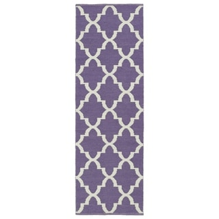 Indoor/Outdoor Laguna Lilac and Ivory Trellis Flat-Weave Rug (2' x 6')