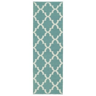 Indoor/Outdoor Laguna Seafoam and Ivory Trellis Flat-Weave Rug (2' x 6')
