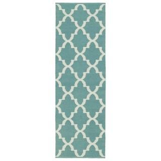 Indoor/Outdoor Laguna Seafoam and Ivory Trellis Flat-Weave Rug (2'0 x 6'0)