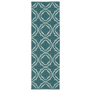 Indoor/Outdoor Laguna Teal and Ivory Geo Flat-Weave Rug (2'0 x 6'0)