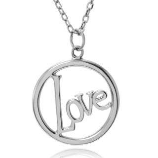 Journee Collection Sterling Silver 'Love' Circle Pendant