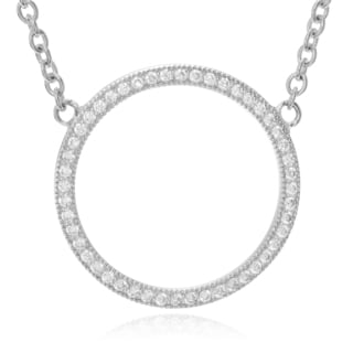 Journee Collection Sterling Silver Cubic Zirconia Accent Circle Pendant