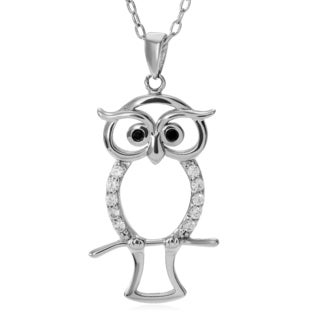 Journee Collection Sterling Silver Cubic Zirconia Accent Owl Pendant