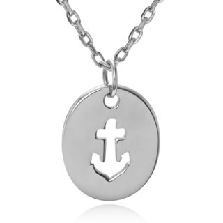 Journee Collection Sterling Silver Anchor Cut-out Pendant