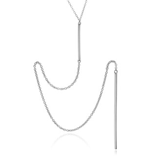 Journee Collection Sterling Silver Rhodium-plated Bar Drop Necklace