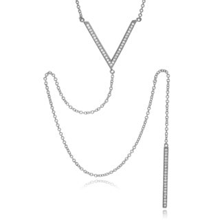 Journee Collection Sterling Silver Cubic Zirconia 'V' Pendant Long Drop Necklace
