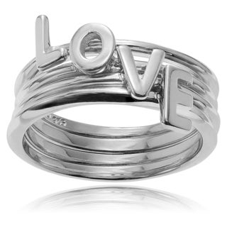 Journee Collection Sterling Silver 'Love' Stackable Ring