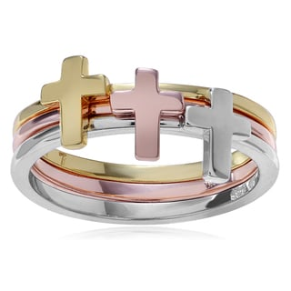 Journee Collection Tri-tone Sterling Silver 3-band Stackable Cross Ring