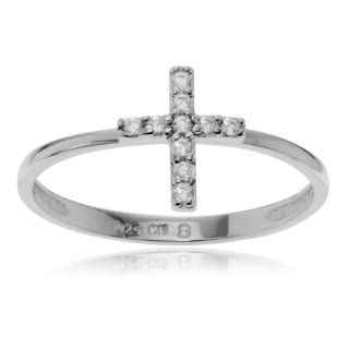 Journee Collection Sterling Silver Cubic Zirconia Accent Cross Ring