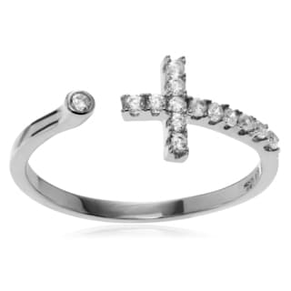Journee Collection Sterling Silver Cubic Zirconia Cross Adjustable Ring