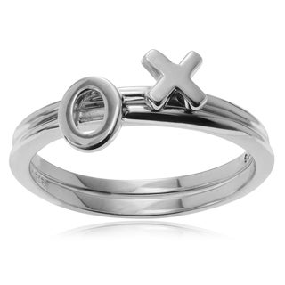 Journee Collection Sterling Silver 'XO' Double Band Stackable Ring