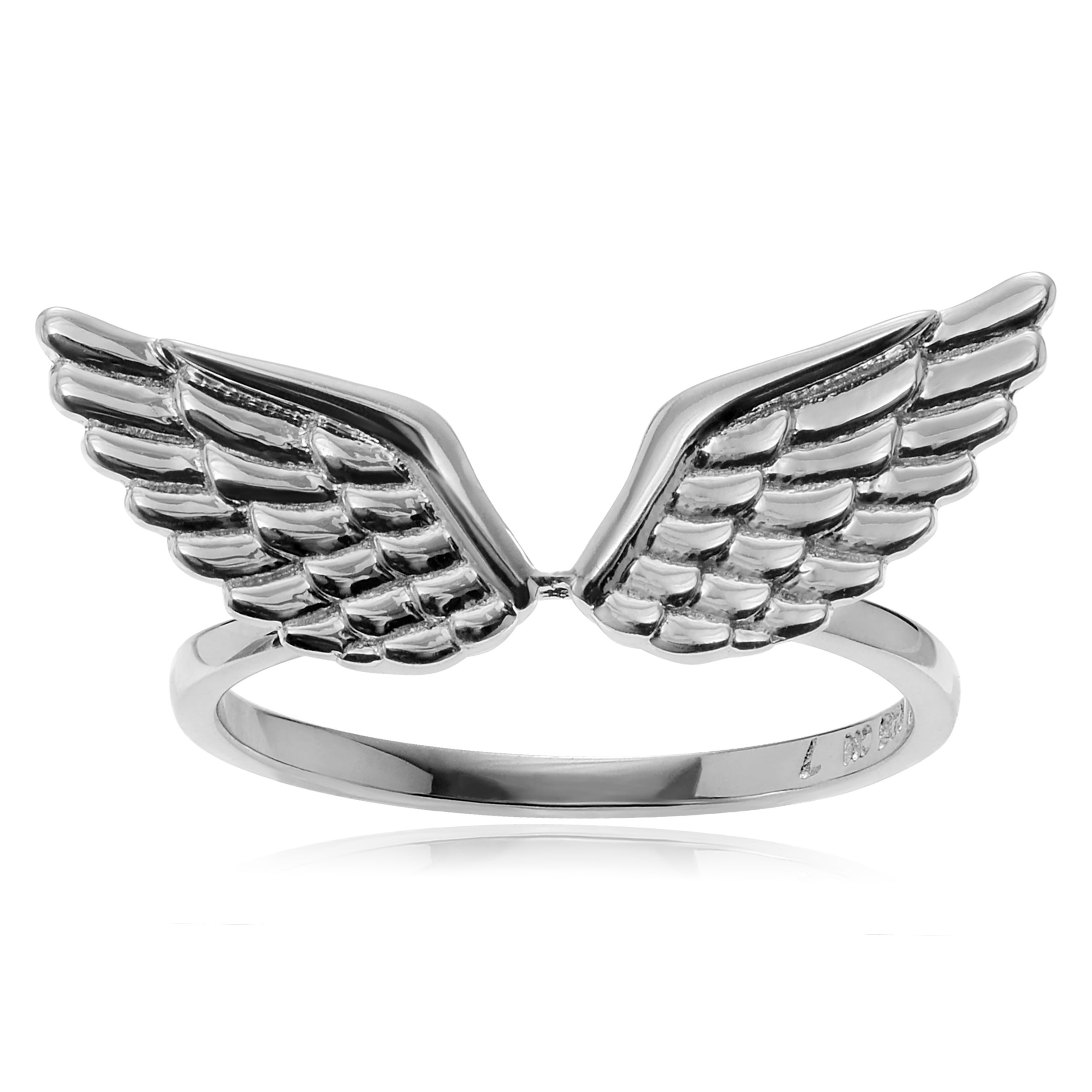 Journee Collection Sterling Silver Angel Wing Ring (Size-...