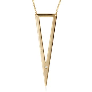Journee Collection Sterling Silver Rhodium-plated CZ Accent Cut-out Triangle Pendant