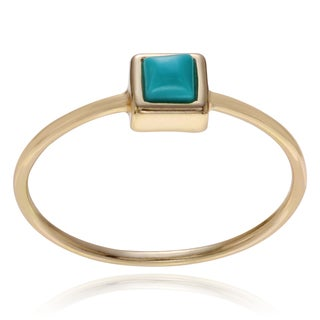 Journee Collection Sterling Silver Square Created Turquoise Ring